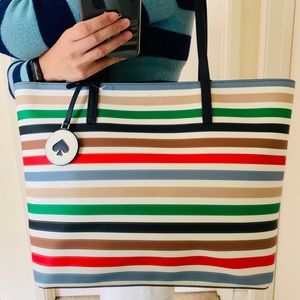 KATE SPADE TOTE MULTI STRIPE TANYA GREEN RED BAG